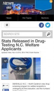 Rod Kight speaks to WLOS about welfare drug testing.